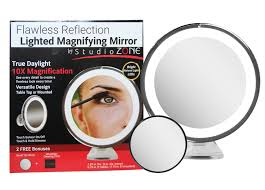 Magnifier Lamp 10x Magnification by Lighted Makeup Mirror 10x Magnifying With 15x Bonus Mirror