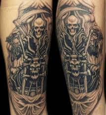 Biker Tattoos Commonly Include Skulls And Other Creatures Within Larger Tattoo Designs Harley Davidson