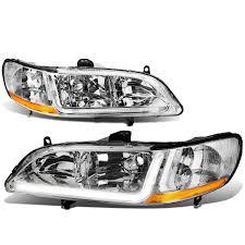 98 02 honda accord led optic drl replace headlights chrome