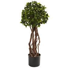 4 Cypress Cone Artificial Topiary Tree In Black Wash Planter UV
