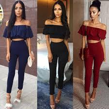2017 Hot Casual Women Suits Sexy Two Piece Outfits Girls Fashion Ruffles Crop Top And Long