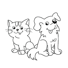 Coloring Pages Of Dogs And Cats Cat Dog