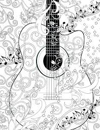 Full Image For Adult Coloring Page Printable Guitar Free By Juleezgallery Online Pages