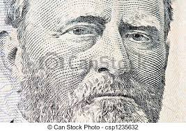 Portrait Of Ulysses S Grant From 50 Dollar Bill