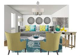 Gray Teal And Yellow Living Room