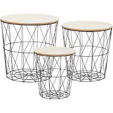 metall beistelltisch mit stauraum schwarz 3er set helle tischplatten wohnzimmer tisch mit abnehmbarer holz platte metallkorb sofatisch couchtisch