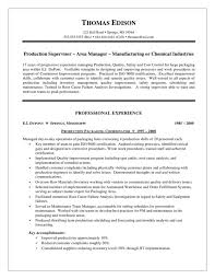 Supervisor Resume Objective Production Thomas Edison In For Examples Center Medium Size