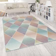 wohnzimmer teppich bunt retro design pastellfarben rauten muster weich kurzflor grösse 70x140 cm
