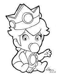 Peach Coloring Pages Princess Baby Super Mario