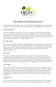 Top 5 Minute Team Building ExercisesSuccessful Businesses Bring Together The Talents Of Individual Employees