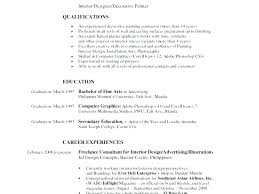 Interior Design Student Cv Resume Objective Examples Designer Qualifications Skills