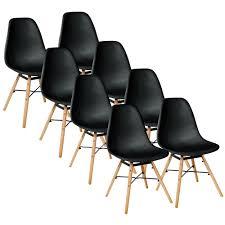 schwarz 8er set skandinavisches retro design modern stühle esszimmerstühle möbel holz stahl kunststoff schale rund für wohnzimmer esszimmer küche büro