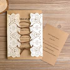 Pocket And Lace Wedding Invitation Suite