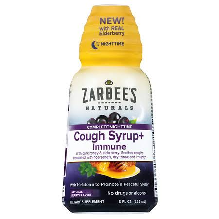 Zarbees Naturals Cough Syrup + Immune, Natural Berry Flavor, Complete Nighttime - 8 fl oz