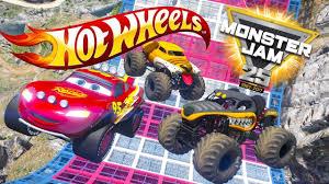 100 Teels Trucks HOT WHEELS MONSTER JAM TRUCK CHALLENGE Cars 3 Challenge YouTube