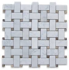 12 x12 carrara white basketweave mosaic emperador dots