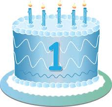 Free First Birthday Clip Art Image clip art illustration of a blue birthday cake with