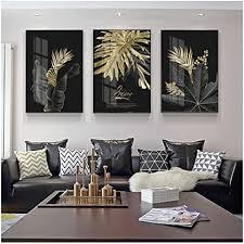 unbekannt leinwand malerei schwarz golden monstera leaf nordic botanical poster wohnzimmer moderne dekoration gemälde triptychon 50x70 cm 19 7 x