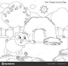 Coloriage Les Trois Petits Cochons 3 Image Vectorielle 25