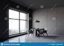 graue esszimmerecke mit runden tisch stock abbildung