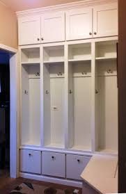 Glossy White Wooden Mudroom Lockers With Shelves And Hutch Also L Shaped Storage Bench Added By Brown Carpet