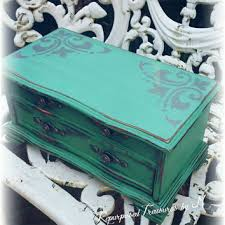 Shabby Chic Jewelry Box Distressed Rustic Teal