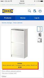 Bissa Shoe Cabinet Dimensions by Ikea Bissa Shoe Cabinet White New In Box In Fulham London Gumtree