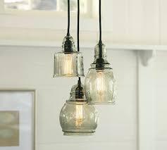 chic glass pendant lights paxton glass 3 light pendant pottery