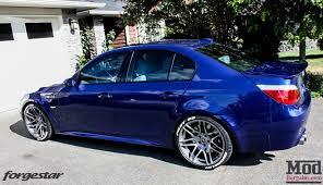 BMW E60 M5 Blue Forgestar F14 Super Deep Concave Wheels