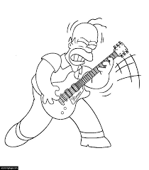 The Simpsons Rockstar Homer Simpson Playing Guitar Coloring