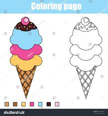 Coloring Page With Ice Cream Cone Color The Drawing Activity Educational Game