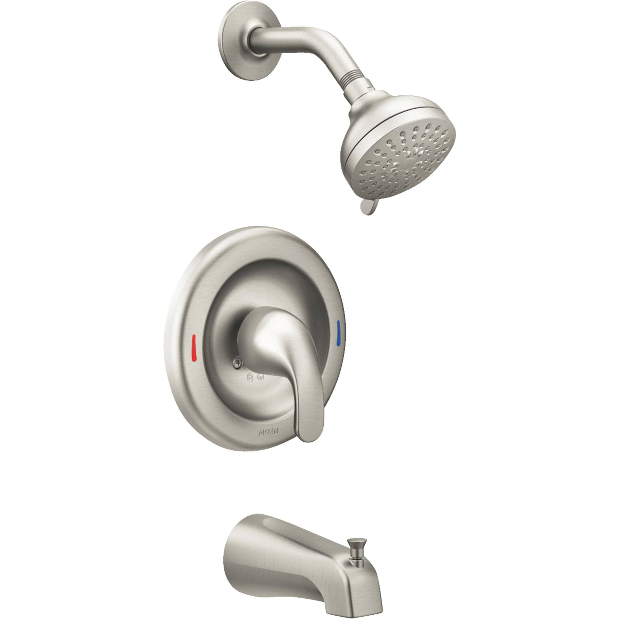 Moen Adler Tub and Shower Faucet - Brushed Nickel Metal, 1 Handle