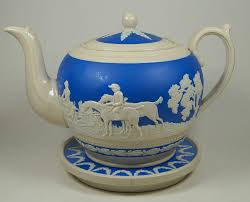 Spode Christmas Tree Teapot by Copeland Spode 1930 S Hunting Scenes Bas Relief Large 2pt Teapot