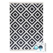 waschbarer teppichläufer schwarz weiß skandi 2980 80x300 cm