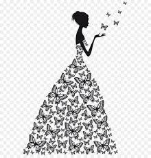 Wall decal Clip art Wedding dress Sketch beauty Vector Flat butterfly