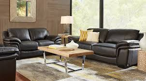 Cindy Crawford Home Grand Palazzo Black Leather 3 Pc Living Room