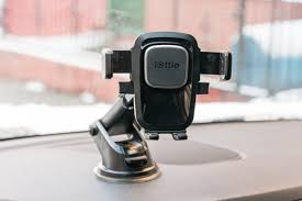 A close up of our dashboard pick for best phone mount attached to a car