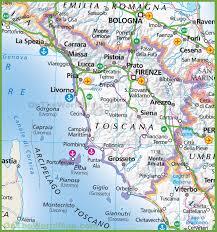 Road Map Of Tuscany Region Italy