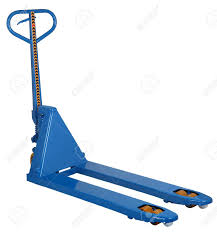 100 Pallet Truck Blue Hydraulic Fork Hand Isolated On White Background