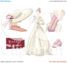 Clipart Of A Woman In Vintage Dress With Mannequin Gloves Clutch And Shoes