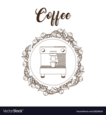 Coffee Maker Hand Draw Vector Image