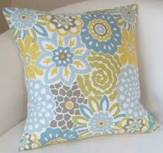 Decorative Pillow Cover 18x18 Inch Spa Blue Yellow by nestables
