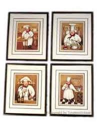 Set 4 Fat French Chef Framed Wall Art Kitchen Decor GL4ND010