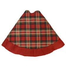 56 Inch Red Green And Tan Plaid Tree Skirt