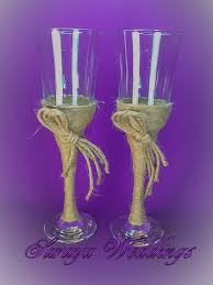 Rustic Style Wedding Glasses With Flax Decoration Toasting Flutes Champagne Wine