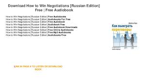 How to Win Negotiations Russian Edition Free Audiobooks For Iphone