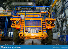 100 Orange Truck Shop Big Mining In The Production Of The Car Factory Stock