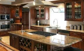 Solid Brown Red Woods Country Kitchen Design Trends Creamed Mosaic Countertop Symmetrical Wall Mounted