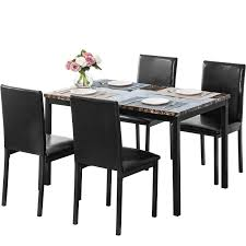 Amazon.com - AUCON Kitchen Dining Table Set Of 5 Brown Faux ... Luxury Ding Room Appliance Home Fitment Fniture Fitting Chairsleather Theater Rollback Chair Black Leather Chairs Modern Details About Small 3 Piece Set Table And Kitchen Faux Marble China Custom Designed Hotel For Contemporary Table Bronze Leather Marble Omega T 185 Italy Brand Sets With Buy Setmarble Prices Product Mia Ceramic And Finley Chair Hot Item Ybs765 Interior Foreground Wooden Stock Photo Fashion Classic Stainless Steelleather Ding Chairsliving Room Chairblack White Metal Fniture