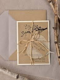 Rustic Wedding Invitation Recycling Paper Tree Garden Birds